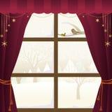 Escena del invierno a través de una ventana stock de ilustración