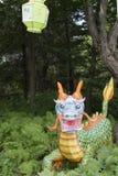 Escena del jardín con el dragón imagen de archivo