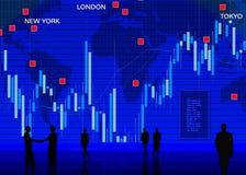 Escena del mercado de intercambio de la moneda extranjera Fotos de archivo libres de regalías