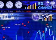 Escena del mercado de intercambio de la moneda extranjera Imágenes de archivo libres de regalías