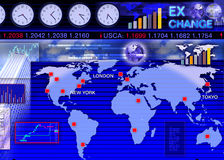 Escena del mercado de intercambio de la moneda extranjera Fotografía de archivo libre de regalías