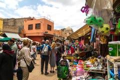 Escena del mercado en Marrakesh, Marruecos Foto de archivo libre de regalías