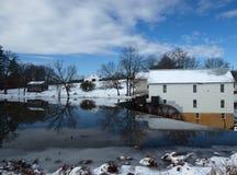 Escena del molino del invierno Fotografía de archivo libre de regalías