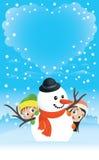 Escena del muñeco de nieve con la nube en forma de corazón Foto de archivo libre de regalías