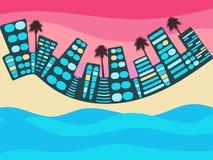 Escena del océano con la ciudad Ciudad con el lago, el río o el océano Paisaje urbano con el océano Centro turístico Vector Imagenes de archivo