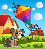 Escena del otoño con el perro y la cometa libre illustration