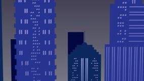 Escena del paisaje de la noche en la ciudad en colores azules metrajes