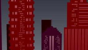 Escena del paisaje de la noche en la ciudad en colores rojos metrajes