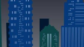 Escena del paisaje de la noche en la ciudad en colores verdes y azules almacen de metraje de vídeo