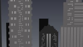 Escena del paisaje de la noche en la ciudad en tonos grises almacen de video