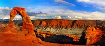 Escena del paisaje de la puesta del sol del panorama, arcos NP, Utah Fotos de archivo