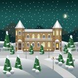 Escena del paisaje del invierno de la noche con un castillo o un señorío rico ilustración del vector