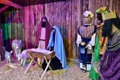 Escena del pesebre instalada en mercado de la Navidad en Gottingen Imagenes de archivo