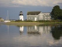 Escena del puerto de Nueva Inglaterra imagen de archivo libre de regalías