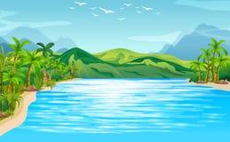 Escena del río con los árboles y las montañas stock de ilustración