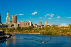 Escena del río de Cleveland Fotos de archivo libres de regalías