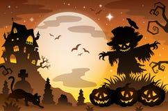 Escena 3 del tema de Halloween ilustración del vector