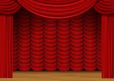 Escena del vector con las cortinas rojas y el piso de madera Fotografía de archivo libre de regalías