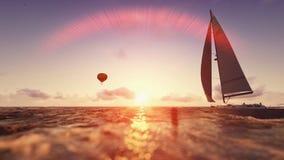 Escena del verano de la salida del sol, balón de aire y navegación del yate