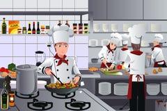 Escena dentro de la cocina del restaurante stock de ilustración