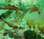 Escena devoniana del mar Imagen de archivo