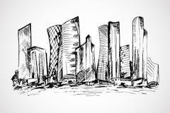 Escena dibujada mano de los edificios de oficinas Imagen de archivo