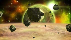 Escena distante del espacio con los asteroides en órbita alrededor del planeta del gigante de gas bucle ilustración del vector