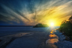 Escena del invierno en el archipiélago Imagen de archivo