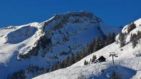 Escena en Stoos, área del invierno del esquí Fotos de archivo libres de regalías
