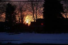 Escena en Whitby, Ontario de la puesta del sol imagen de archivo