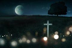 Escena espeluznante de la noche para Halloween foto de archivo