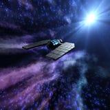 Escena estrellada del espacio 3d con la nave espacial Imagen de archivo