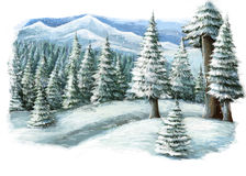 Escena feliz del invierno de la historieta en las montañas Imagenes de archivo