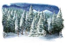 Escena feliz del invierno de la historieta en las montañas Imagen de archivo libre de regalías