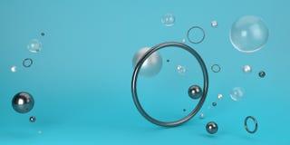 Escena geométrica abstracta de la forma representación 3d Front View Stock de ilustración