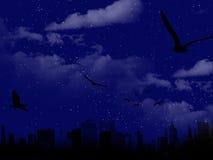 Escena hermosa de la noche con la silueta de la ciudad Imágenes de archivo libres de regalías