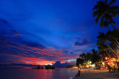 Escena hermosa de la noche de la playa Fotos de archivo libres de regalías