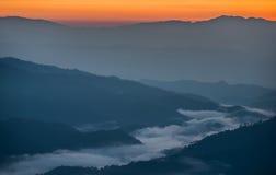 Escena hermosa de la salida del sol Fotos de archivo libres de regalías