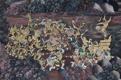 Escena hermosa pintada en una pared del templo Foto de archivo libre de regalías