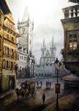 Escena histórica colorida del vintage de Praga, pintura del arte de la calle