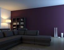 Escena interior con el sofá y los floreros Fotos de archivo