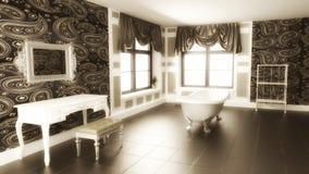 Escena interior del cuarto de baño clásico con efecto de la sepia ilustración del vector