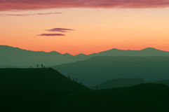 Escena inusual de la puesta del sol imagenes de archivo