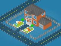 Escena isométrica que representa la casa moderna y el área colindante con la flor ilustración del vector
