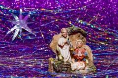 Escena Jesus Christ, Maria y José de la natividad foto de archivo
