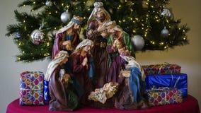 Escena José, Maria y Jesús de la natividad imágenes de archivo libres de regalías
