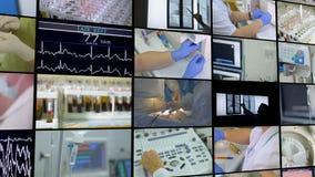 Escena médica La pared video, multiscreen el montaje de cantidades médicas metrajes