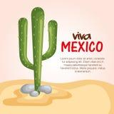 Escena mexicana del cactus de la cultura ilustración del vector
