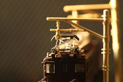 Escena miniatura del modelo del juguete del ferrocarril foto de archivo