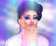 Escena moderna de la moda, del peinado y de la belleza con el fondo violeta y púrpura de la pendiente Imagen de archivo